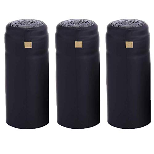 BGMAXimum PVC heat shrink capsules 120 count matte black wine shrink wrap sleeves caps clear wine bottle corks capsules for professional, wine making cellars and home use - All Black