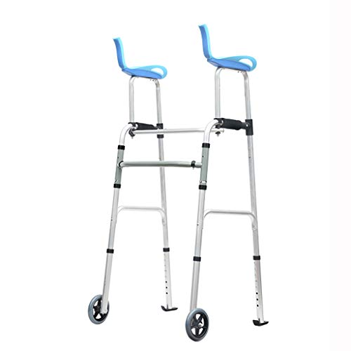 FKDEWALKER Aluminium Folding Walking Frame,Walking Mobility Aid,Wheeled Walker with Seat and Arm Rest (Color : A)