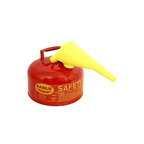 Eagle UI-20-FS Red Galvanized Steel Type 1 Gasoline Safety Can with Funnel, 2 gallon Capacity, 9.5' Height, 11.25' Diameter