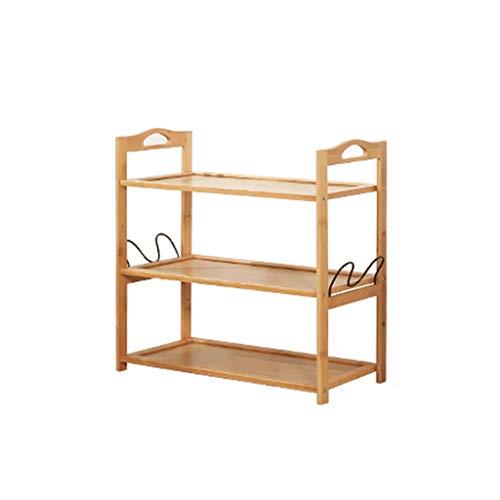 Shoe rack Zapatero de madera maciza simple con ganchos para el hogar, multifuncional, ahorra espacio para almacenamiento en el hogar (tamaño: 50 x 49 cm)