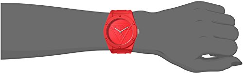GUESS Iconcic Red Retro Pop Logo Stain Resistant Silicone Watch. Color: Red (Model: U0979L3)
