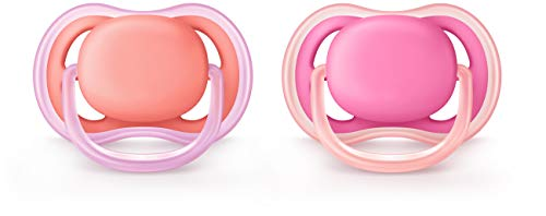 Philips Avent Ultra Air Pacifier, 6-18 months, pink/peach, 2 pack, SCF245/22