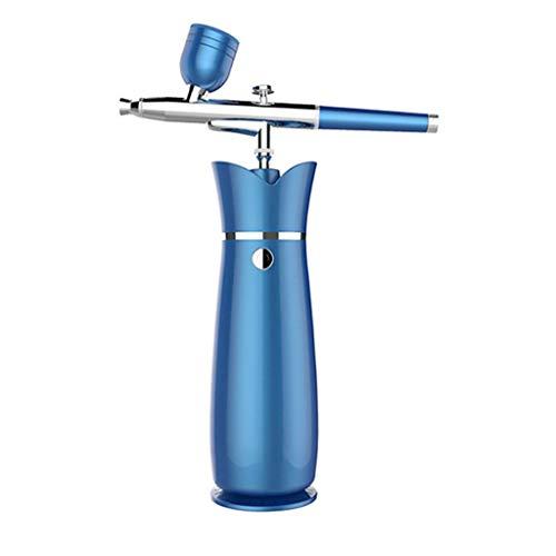 Atomisation Airbrush Makeup Kit, Anself Rechargeable Vaporiser Pen, USB Air Brush Pen,Maquillage Nail Art Peinture Manucure Tatouage Cakes Outil Bricolage Avec Silencieux Compresseur D'air,Bleu