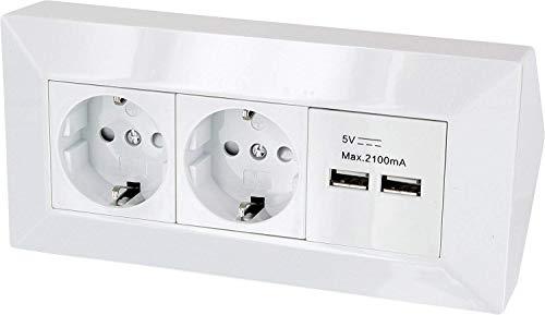 Aufbau Steckdosenleiste Ecksteckdose mit USB Ladebuchse - 230V 3600W (reinweiß)