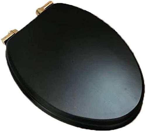 KJAEDL WC Deckel WC-Sitz, WC-Abdeckung Langsam-Schließen Heavy Duty WC-Sitz Einfache Installation und Reinigung Massivholz-Material, Farbe Nussbaum-V (Color : Black, Size : V)