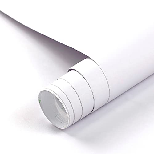 Freshtour Lámina adhesiva para muebles, color blanco mate, 60 x 500 cm, para muebles, muebles, cocina, papel pintado, autoadhesivo, engrosado, resistente al agua, pared, lámina decorativa