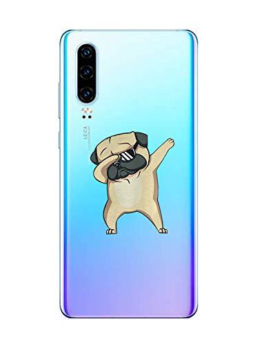 Oihxse Transparente Funda para Huawei P9 Plus Ultrafina Silicona Suave TPU Carcasa Interesante Perro Patrón Flexible Protectora Estuche Antigolpes Anti-Choque (A4)