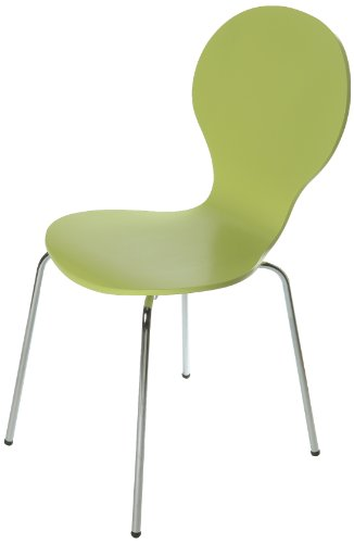 Tenzo 680-026 FLOWER 4-er Set Designer Stühle, Schichtholz lackiert, matt, Untergestell Metall, verchromt, 87 x 46 x 57 cm, lime