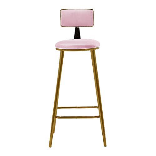 Comif-tabouret de bar flanel barkruk met rugleuning, goudmetaal hoge belastbaarheid, moderne stijl, sponskussen met pedalen, huishoudtextiel (zithoogte: 18/28/30 inch)