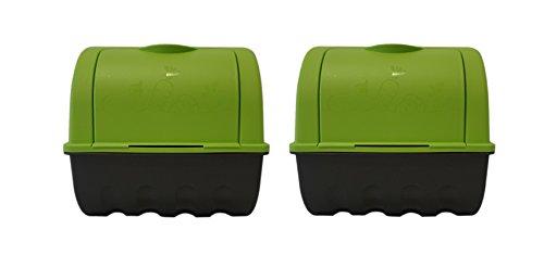 Haas 2 x Vorratsdose Kartoffel Gemüse Zwiebel Karotten Zucchini Paprika -Box Grün 3,5L Volumen klein zur Aufbewahrung Behälter