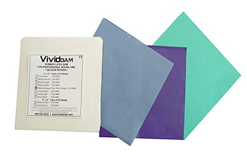 "Premium Quality Dental Rubber Dam 6"" x 6"", Made In Sweden, Pack of 36, by Vivid (Medium, Green)"