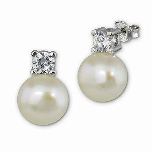 SilberDream Pendientes blancos de plata 925 con perlas y circonitas, SDO1738W