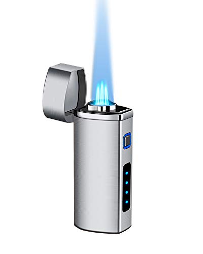 【WDMART】 葉巻 用ライター ガスライター メタルライター 充填式ライター 注入式ライター トリプル ターボ ジェット ライター フレームロック機能?残余ガス可視化?葉巻パンチ付き?誕生日プレゼント(ガスを含んでいません) (シルバー)