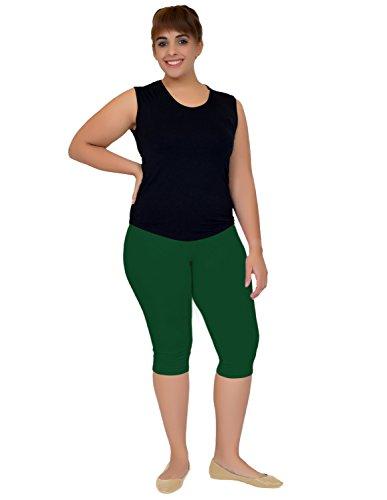 Stretch is Comfort Women's Plus Size Knee Length Leggings Hunter Green 3X