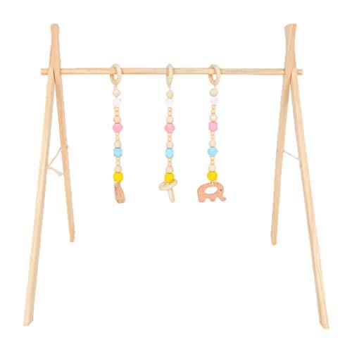 XINGYUE Actividad Gimnasio de madera, 1 set de dibujos animados nórdicos bebé de madera gimnasio Fitness marco colgante kit de juguetes para niños pequeños decoraciones de habitación