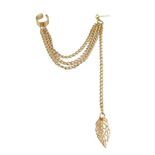 Ruby569y Pendientes colgantes para mujeres niñas, pendientes de moda cadena de metal forma de hoja pendientes colgantes femeninos - dorado
