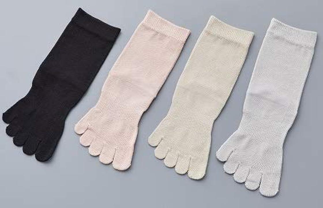 区画広大なパラナ川婦人 シルク 5本指 靴 下最高級 シルク100% 使用 プレゼントに最適 22-24cm 太陽ニット S90 (グレー)