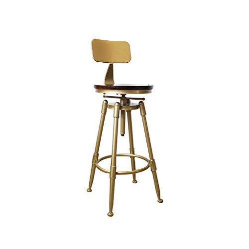 C-J-Xin barstoelen, smeedijzer, retro-stijl, decoratieve stijl, barkruk, kruk, goudkleurig, stoel, zithoogte: 70 ~ 90 cm, decoratieve kruk B