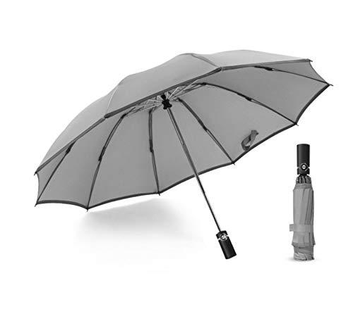 Paraguas Portátil Con Paraguas Plegable Automático A Rayas Reflectantes 33cm Gris