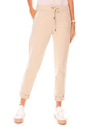 Easy Young Fashion Damen Hose Jogginghose Lang Sporthose Trainingshose Baumwolle Jogg Pants Sweatpants mit Seitenstreifen Beige 40