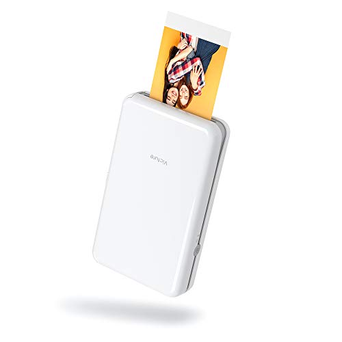 "Victure 2x3"" Portable Photo Printer, Bluetooth Connection, Wireless Rechargeable including 10 pieces of Photo Paper, Android/IOS/Tablet Devices Compatible, no ink, 4 PASS Technology"