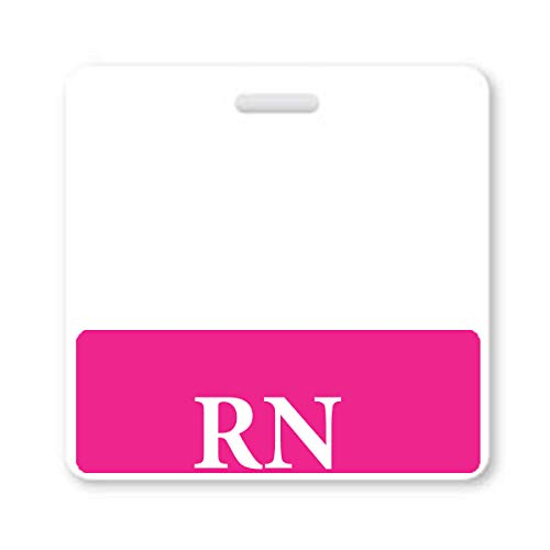 Pink RN Badge Buddy - HORIZONTAL- Heavy Duty Spill Proof & Tear Resistant Cards - Double Sided- Quick Role Identifier ID Buddies for Registered Nurse - Printed in The USA by Specialist ID, Single Item