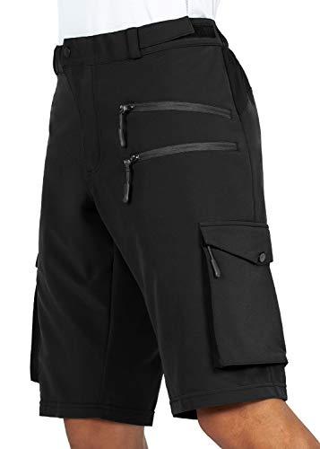 Gouxry Herren MTB Kurze Hose, Schnelltrocknende Mountainbike Hose mit 5 Reißverschluss Taschen Atmungsaktiv Elastische Fahrradhose Herren (Schwarz, XXL) (Schwarz, XXXL)