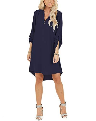 YOINS Damen Kleider Tshirt Kleid Sommerkleid für Damen Brautkleid Langarm Minikleid Kleid Langes Shirt V-Ausschnitt Lose Tunika mit Bowknot Ärmeln Dunkelblau L