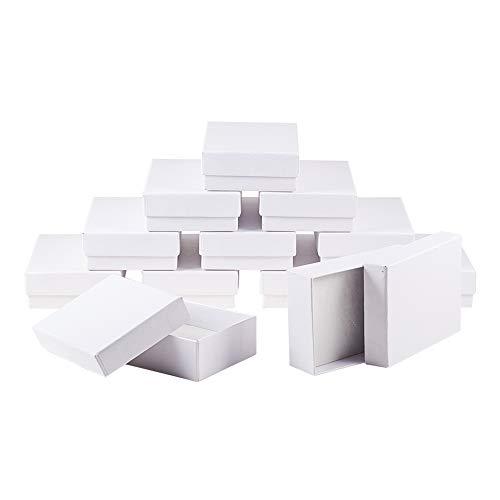 nbeads 60 Pcs Weiß Rechteck Kartons Schmuck Verpackung Box Für Ketten, Ohrringe und Ringe, 9 × 6,5 × 2,8cm