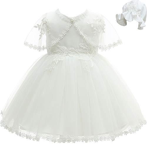 AHAHA Abiti da Battesimo per Bebè Bambina Principessa Abiti da Sposa Festa di Compleanno Vestito per Infantile con Cappello e Mantellina