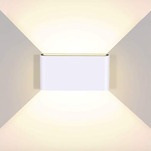 litwlds Apliques de Pared LED 12W Regulable Lámpara de Pared Interior exterior Moderna Luz de Aluminio para Salón Dormitorio Baño[Clase de eficiencia energética A++](Blanco 12W)