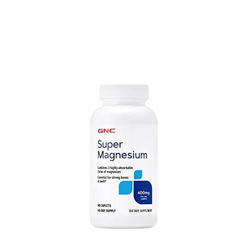 GNC Super Magnesium 400mg, 90 Caplets, Supports Strong Bones and Teeth