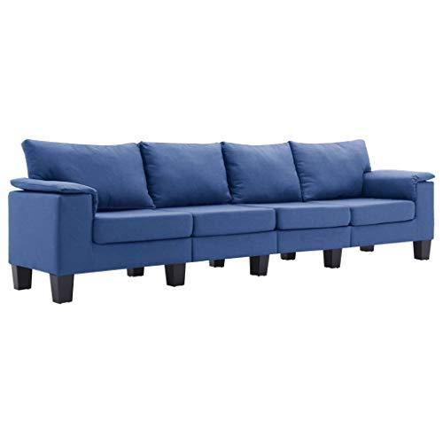 vidaXL Sofá de 4 Plazas Asiento de Sillón Salón Descanso Relajante de Suave Muebles de Hogar Oficina Estable y Duradero Tela Azul
