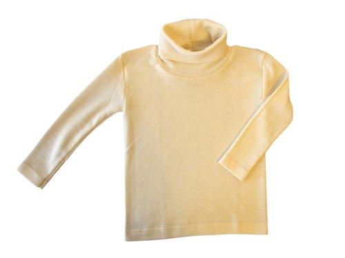 Engel T-shirt à col roulé en laine mérinos pour enfant - Sous-vêtements thermiques biologiques - Pour garçon et fille - Beige - 152