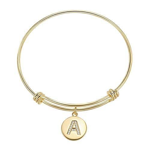 Pulsera de oro con letras del alfabeto para dama de honor, regalo de eternidad para mujer, pulsera de amor de oro, pulsera
