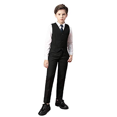 U LOOK UGLY TODAY Men's Party Suit Solid Color Prom Suit for Themed Party Events Clubbing Jacket with Tie Pants -Black Large