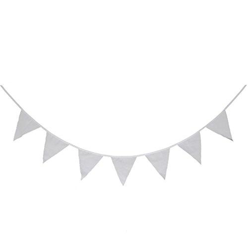 2.4M Banderole Guirlande de Fanions Triangles Banniere Decoration Pour Home / Anniversaire / Mariage - Blanc