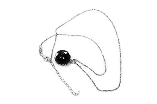 MAGICMOON - Mod. VTP10000287 - Originale collana uomo/donna argento 925 rodiato con ciondolo MONDO smaltato nero