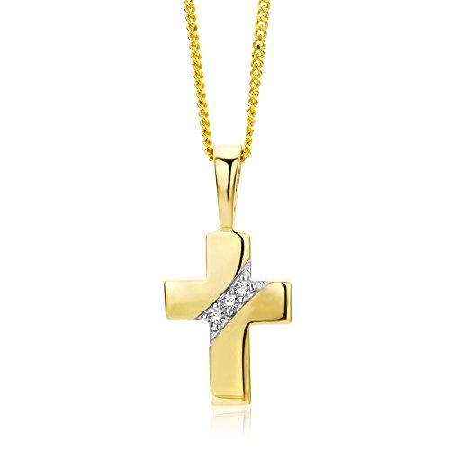 Miore Kette - Halskette Damen Gelbgold 9 Karat / 375 Gold Kette mit Kreuz mit Rundschliff Zirkonia Steinchen 45 cm