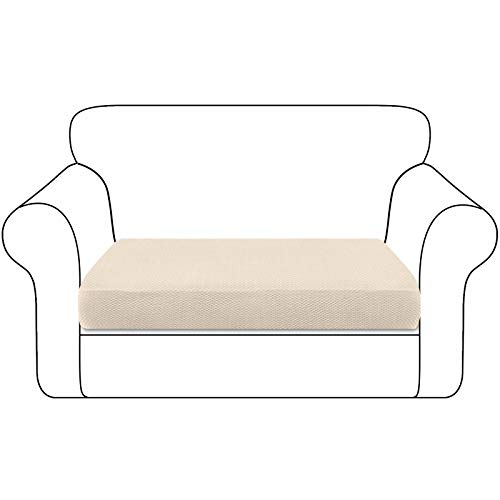 Granbest Thickened Sofa Seat Cushion Cover Durable Couch Seat Slipcover Furniture Protector for Individual Sofa Cushions(2 Seater, Beige)
