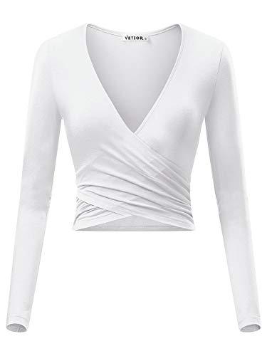 VETIOR Women's Deep V Neck Long Sleeve Unique Cross Wrap Slim Fit Crop Tops Medium White