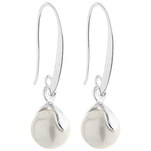 2LIVEfor Perlenohrringe Hängend Silber Tropfen rund Versilbert mit echten Zuchtperlen Tropfenform Ohrringe Perlen Weiß Creme Ohrhänger Perle