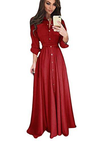 JIER Damen Langarm Knopf Maxikleid Elegant Vintage 1950er Boho Lang Maxi Kleid Kleider Abendkleider Ballkleid Solid Casual Partykleid mit Taschen...