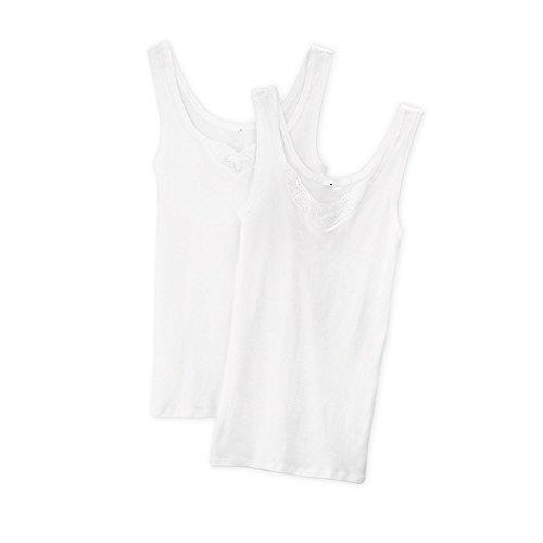 Schiesser Damen Trägertop (2er Pack) Unterhemd, Weiß (Weiss 100), 38 (Herstellergröße: 038)