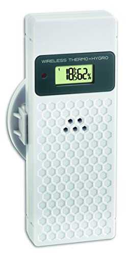 TFA Dostmann Thermo-Hygro-Sender mit Display, 30.3245.02, verwendbar als Ersatz-oder Zusatzsender, weiß, L60 x B35 x H155mm