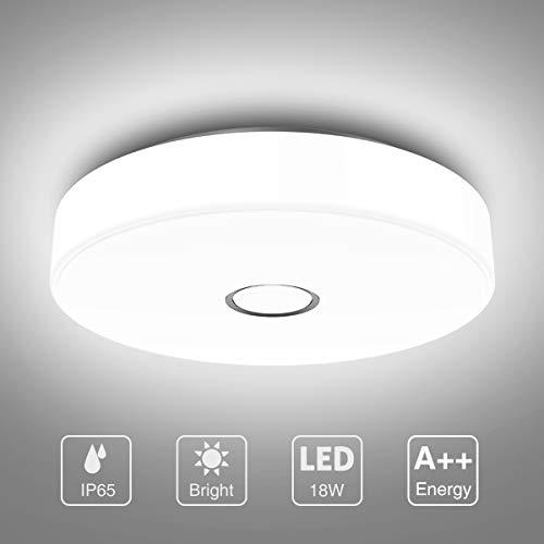 Onforu 18W LED Deckenleuchte Badezimmer, IP65 Wasserdicht Deckenlampe, 1600lm 5000K Kaltweiß Küchenlampe, CR über 90 Badezimmerlampe, Decke Badlampe Lampe für Küche, Schlafzimmer, Wohnzimmer, Bad