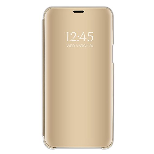 Kompatibel mit iPhone 8 Hülle, iPhone 7 Hülle Mirror Case Spiegel Handyhülle PU Leder Flip Case Cover Schutz Echtleder Tasche Etui Lederhülle Schutzhülle Echtledertasche für 7/8 Plus (Gold, iPhone 8)