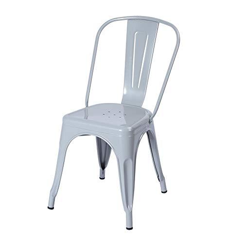 Vintage metalen stoel, stapelbaar, eetkamerstoel, tuinstoel, stapelstoel, bistrostoel, keukenstoel met rugleuning en antislip voetkussens voor thuis, hotel, kantoor, jäten, 65 x 40 x 25 cm