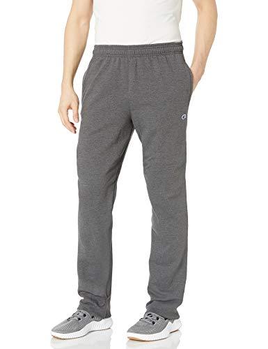 Champion Men's Powerblend Open Bottom Fleece Pant, Granite Heather, 2XL