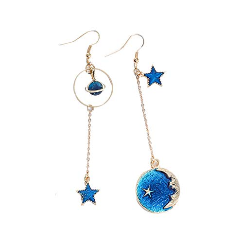 TOOGOO Creativo Azul Universo Pendientes Asimétricos